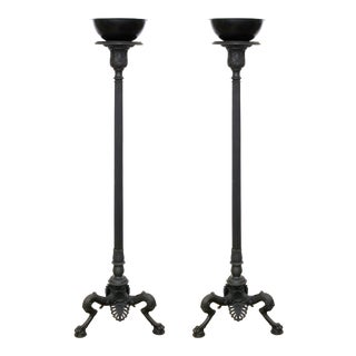 Neoclassical Grand Tour Style Patinated Metal Torchieres For Sale