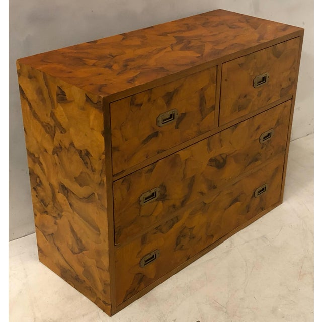 1970s Pair of Patchwork Burl Campaign Style Chests For Sale - Image 5 of 6