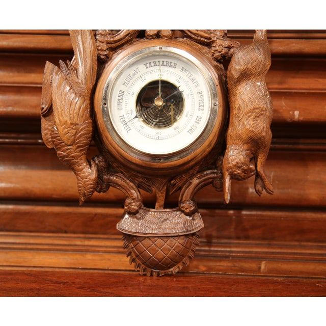 Black Forest 19th Century French Carved Walnut Black Forest Barometer With Deer and Guns For Sale - Image 3 of 10