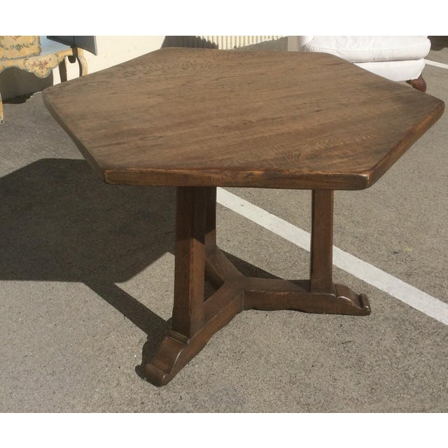 Rustic Oak Center Table For Sale - Image 9 of 10
