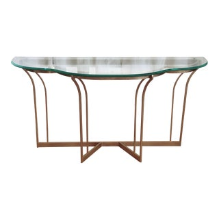 Lovely Gold and Glass Scalloped Edge and Beveled Glass Console Table For Sale