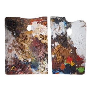 Vintage Mid-Century Modern Abstract Expressionist Folk Outsider Art Artist Palettes Impasto Paintings - a Pair For Sale