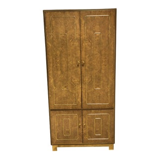 Vintage Romweber Burled Wood and Brass Armoire For Sale