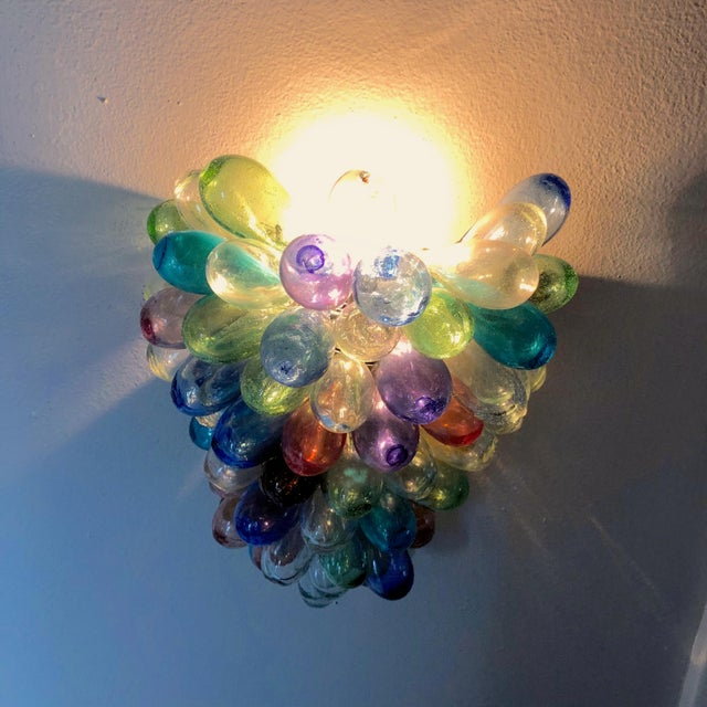 Colorful Wall Sconce Fixture of Recycle Hand Blown Glass For Sale - Image 10 of 11
