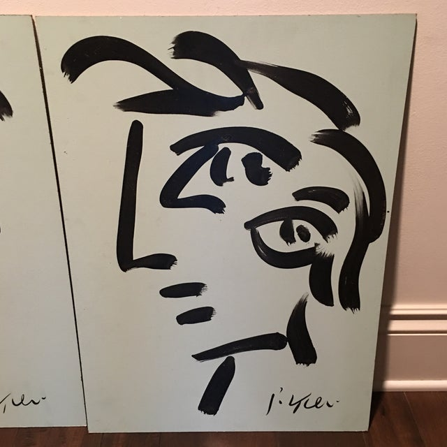 Peter Keil Peter Keil Cubist Profile Abstract Paintings - a Pair For Sale - Image 4 of 12