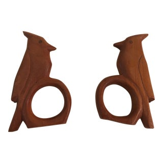 Matching Wood Carved Birds Napkin Rings - A Pair For Sale