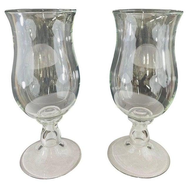 Modern Clear Glass Candleholder or Vase, a Pair For Sale - Image 10 of 10