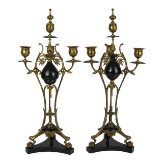 Belle Epoque Brass Marble Candelabra - A Pair For Sale