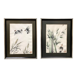 Original Vintage Watercolor Paintings by H. Sakai - a Pair, Framed For Sale