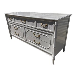 Newly Lacquered Broyhill Faux Bamboo Dresser For Sale