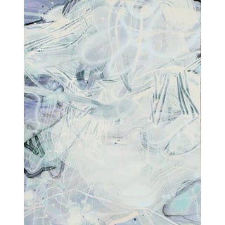 "Dana Oldfather ""Water Parts 2"", 2019 Light Abstract Painting on Paper For Sale"