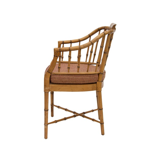 Asian Faux Bamboo Armchair With Caned Seat For Sale - Image 3 of 10