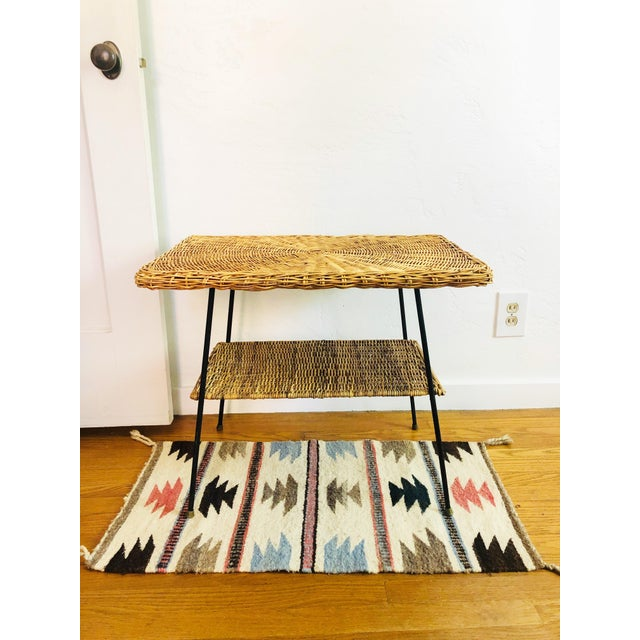 Mid Century Rectangular Wicker Side Table on Iron Frame For Sale - Image 11 of 11