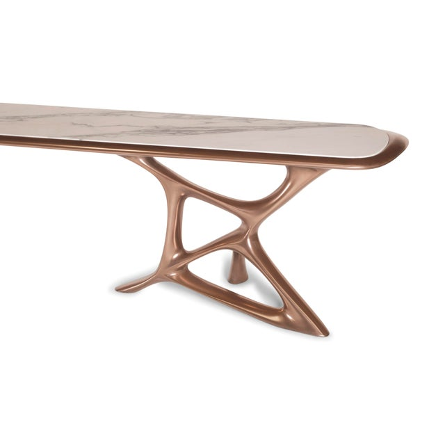 Amorph Amorph Custom Anika Console Table, Bronze Finish With White Marble Stone For Sale - Image 4 of 10