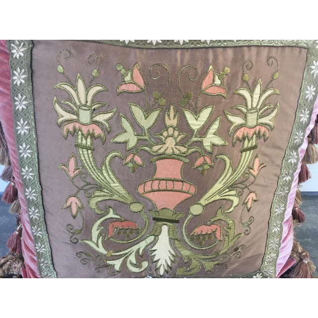 Traditional Embroidery Appliqué Silk Velvet Pillows - a Pair For Sale - Image 3 of 9