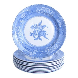 1950s Spode Camilla Blue and White Dinner Plates Made in England - Set of 10 For Sale
