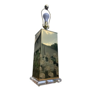 Pierre Cardin Style Brass and Lucite Table Lamp For Sale