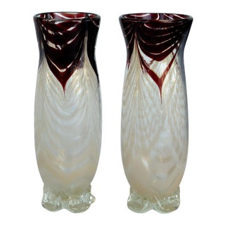 Murano Blown Glass Bud Vases- a Pair For Sale