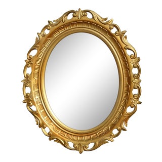 Vintage Syroco Style French Provincial Gold Floral Oval Wall Mirror For Sale