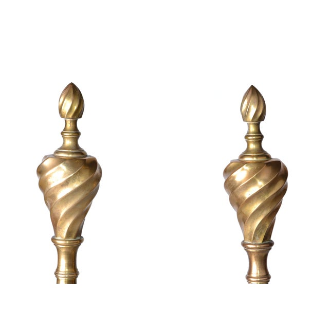Pair of Solid Brass Andirons For Sale In Miami - Image 6 of 10