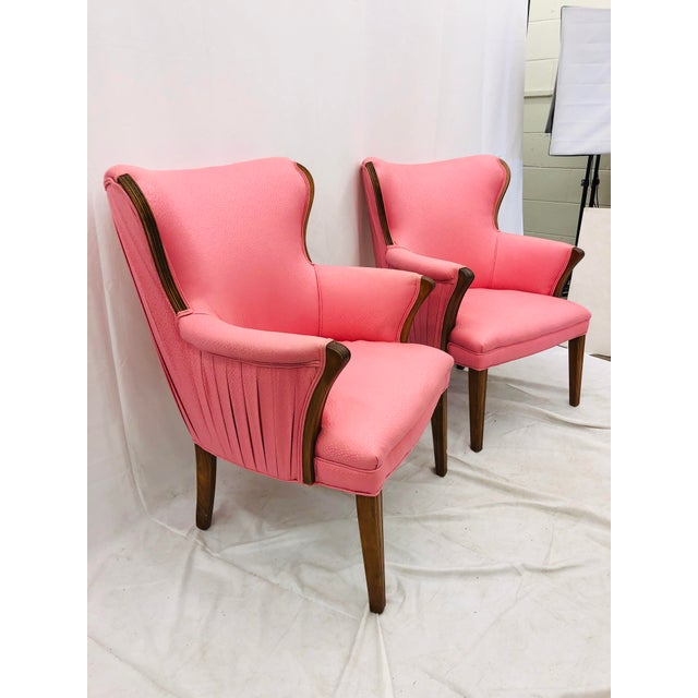 Pair Vintage Mid Century Modern Arm Chairs With Pink Upholstery For Sale In Raleigh - Image 6 of 10