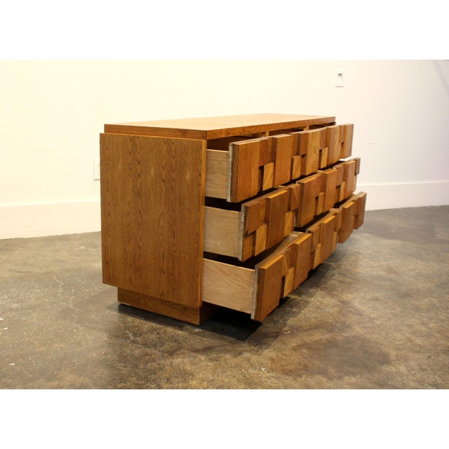1970s 1970s Mid-Century Modern Brutalist Mosaic Patchwork Dresser by Lane in Oak For Sale - Image 5 of 10