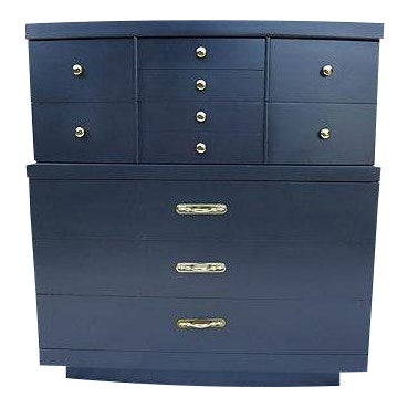 Urban Style Step-Down Tall Dresser in Asian Black For Sale