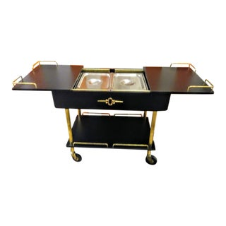 Hollywood Regency Black Gold Dorothy Draper Style Food Chafing Dish Warmer Buffet Rolling Cart For Sale