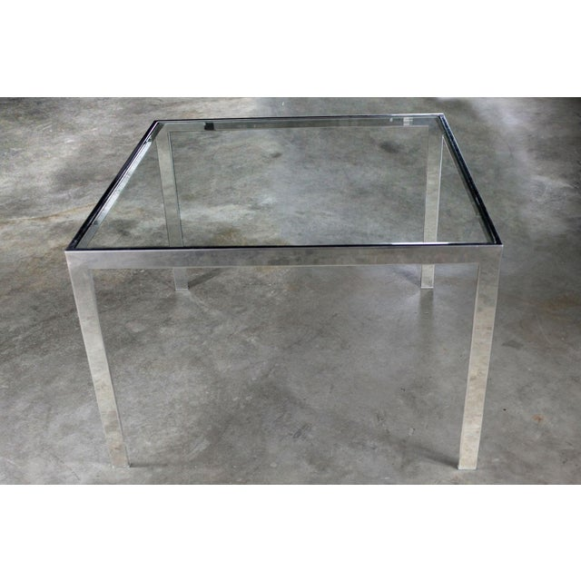 Chrome and Glass Milo Baughman Attribution Parsons Style End Table Vintage Modern For Sale - Image 10 of 10