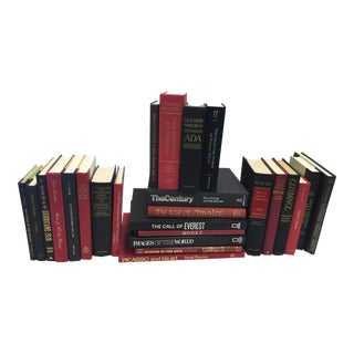 Red and Black Decorative Book Lot 25 Books For Sale