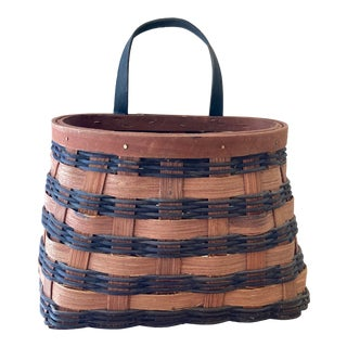 1980s Handwoven Oak Splint Wall Pocket / Basket For Sale