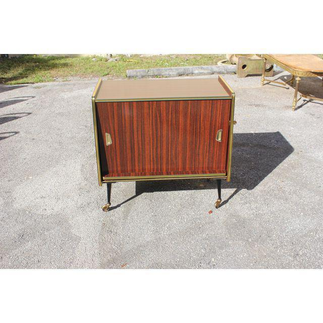 1940s Vintage Macassar French Art Deco Swivel Bar Cabinet For Sale - Image 11 of 13
