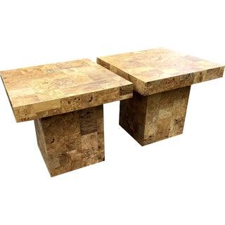 Milo Baughman Style Burl Patchwork Accent Tables - a Pair