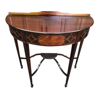 1900s Hepplewhite Style Marquetry Demi-Lune Console Table