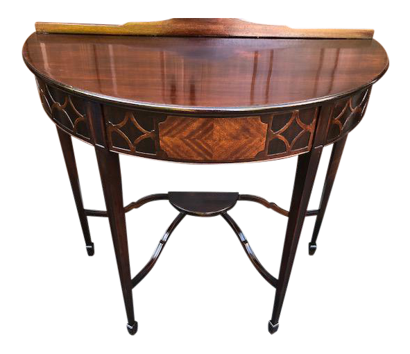 Genial 1900s Hepplewhite Style Marquetry Demi Lune Console Table