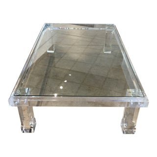 1970s Vintage Lucite and Glass Top Coffee Table For Sale