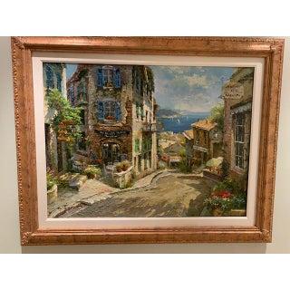 1990s Vintage Original Italian Street Scene Painting Preview
