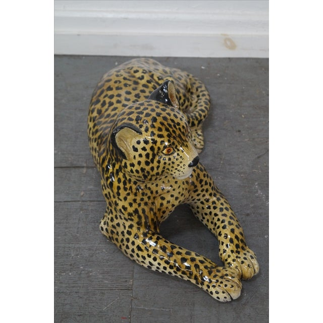 Italian Large Italian Pottery Ceramic Leopard Statue For Sale - Image 3 of 10
