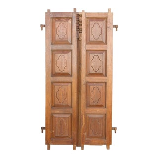 19th Century Teak Indo-Portguese Carved Doors For Sale