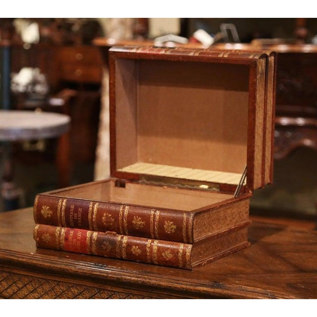 Early 20th Century French Leather Bound Books Decorative Box With Drawer For Sale - Image 4 of 10