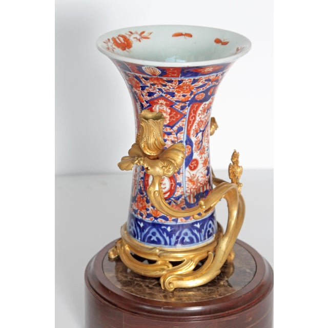 Pair of 19th Century Ormolu Mounted Imari Vases With Mahogany and Marble Stands For Sale - Image 10 of 12