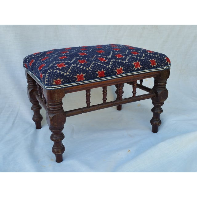 Victorian Embroidered Foot Stool - Image 2 of 7