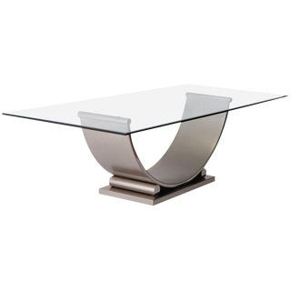 Belgo Chrome Dining Table in Brushed Steel, 1970s For Sale