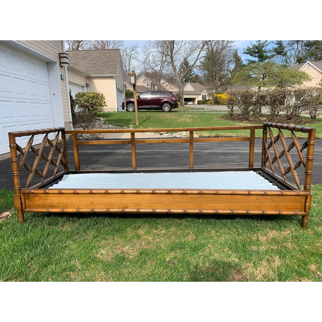 1970s Boho Chic Rollout Faux Bamboo Twin Trundle Bedframe For Sale - Image 13 of 13