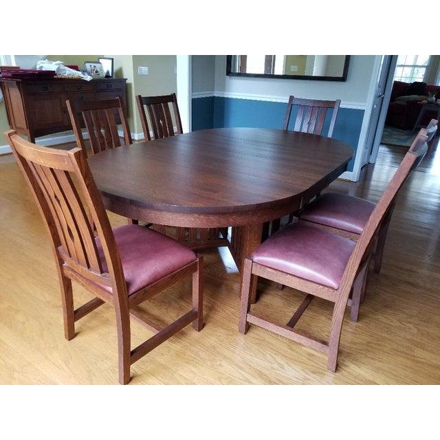 Arts and Crafts Villageois Mission Oak Dining Set - 7 Pieces