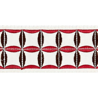 Sample, Scalamandre Fiori Embroidered Tape, Raspberry For Sale
