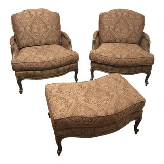 Ethan Allen Versailles Berger Chairs With Ottoman - Set of 3