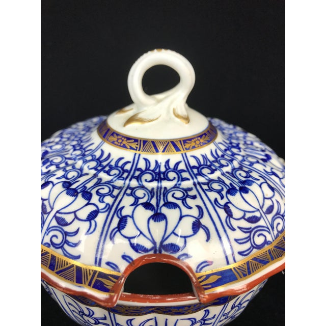 19th Century Victorian Blue & White China Lidded Serving Dishes - a Pair For Sale In Portland, OR - Image 6 of 11