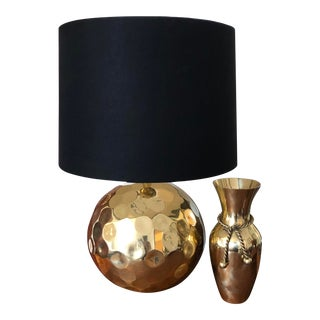 """Nate Berkus Solid Hammered Brass """"Orbit"""" Table Lamp With Shade For Sale"""