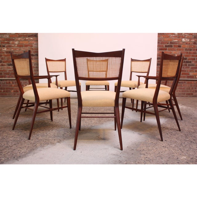 Set of Eight Stained Mahogany and Cane Directional Dining Chairs by Paul McCobb For Sale - Image 13 of 13